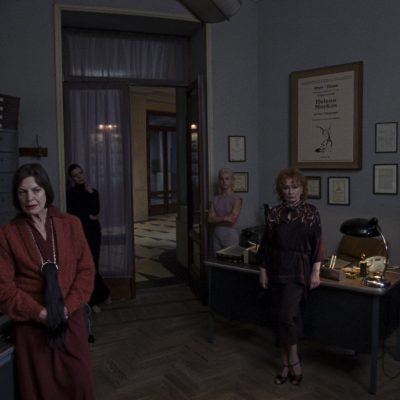 Angela Winkler as Miss Tanner, Ingrid Caven as Miss Vendegast, and Reneé Soutendijk as Miss Huller star in Suspiria